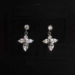 Small CZ Cross drop earrings